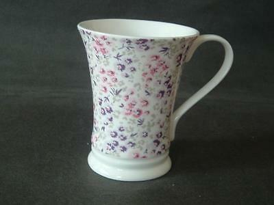 Laura Ashley Floral Mug - Pink, Purple And Grey Flowers Over White