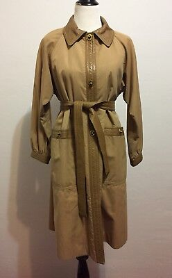 Bonnie Cashin Sills Womens Trench Coat Leather Trimmed Size S-M