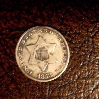 1853-3 Cent Silver U. S. Coin- Circulated-Pre-Civil War-Nice