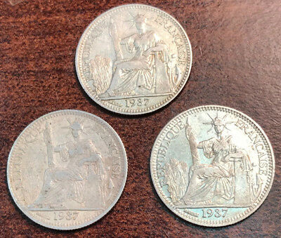 (3) FRENCH INDO-CHINA 10 Cents Silver 1937(A) (Vietnam) KM-16