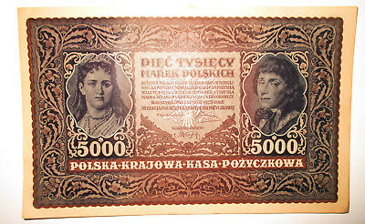 Vtg 1920s 5000 POLSKICH Poland Paper Money Excellent Condition