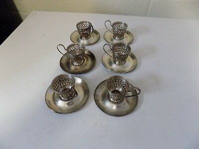 Gorham Sterling Silver Demitasse Cup Holders and Saucers Set of 6 A5550 A5549