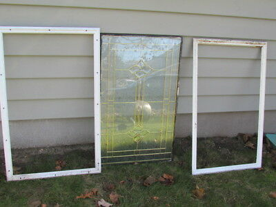 Vintage Stained Glass Window Panel From A Front Door 22 1/4 x 36