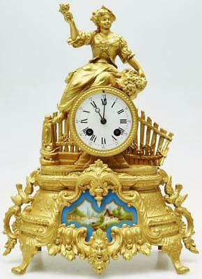 Antique Gilt Metal & Sevres French 8 Day Figurel Striking Mantel Clock