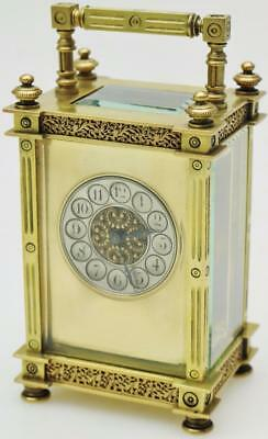 Antique French 8Day Gilt Ormolu Bronze Carriage Clock  Mantle Clock C1900