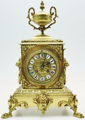 Superb Antique French CUBED 8 Day Bronze Ormolu Striking Mantle Clock Paw Feet