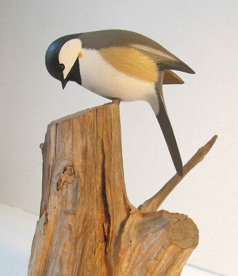 Vintage Hand Carved Black Caped Chickadee Sculpture