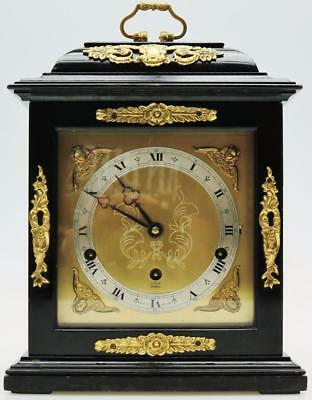 Antique Elliot English 8 Day Ebonised Westminster Chimes Bracket Mantel Clock
