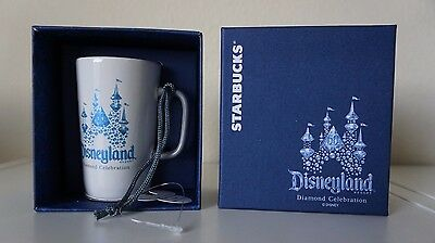 Disney Parks Disneyland 60th Diamond Celebration Starbucks Mug ornament 2015 NEW