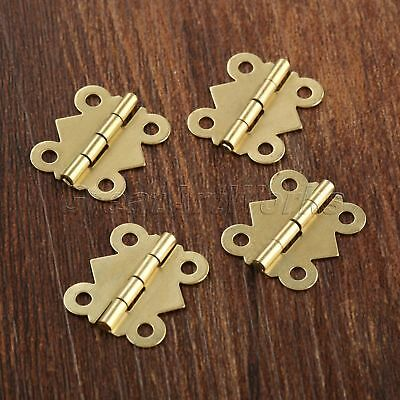 20x Brass Color Mini Butterfly Hinges Dollhouse Cabinet Drawer Jewelry Box Decor