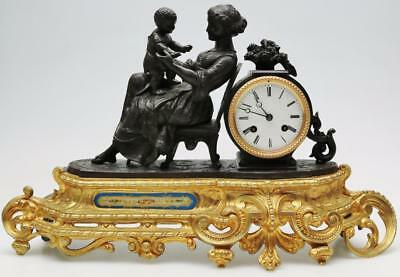 Antique French C.F Petit 8 day Gilt Figural Bell Striking Sevres Mantel Clock