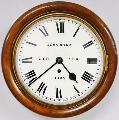 "English Fusee 10"" Dial Wall Clock - John Agar LYR 128 Bury Station Clock C1870"