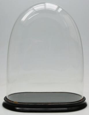 Antique 19th C French Mantel Clock Glass Dome & Ebonised base