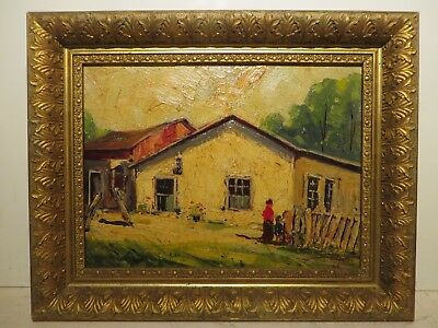 "12x16 org. 1949 oil painting on board by Carl Hoppe of ""Old Doby San Antonio Tx"""