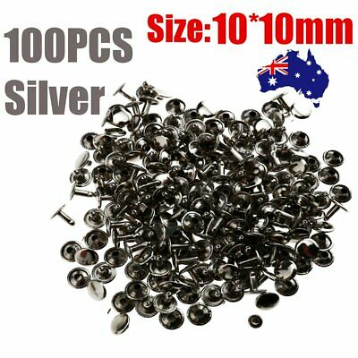 100 Silver 10mm Double Cap Rivets Studs Fasteners Leather Craft Punk Spike Decor