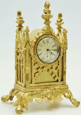 Good Quality Rare Antique English Fusee Bronze Gothic Desk Table Mantel Clock
