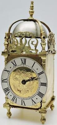 Striking Antique French 8 Day Brass Lantern Mantel Clock With Dolphin Spandrels