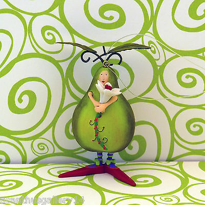 Krinkles PEAR GREEN FRUIT MINI ORNAMENT Patience Brewster Dept 56 Xmas NIB Retd