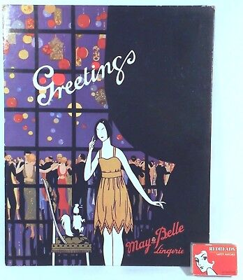 1930's Art Deco Advertising Free Standing Shop Show Card May Belle Lingerie