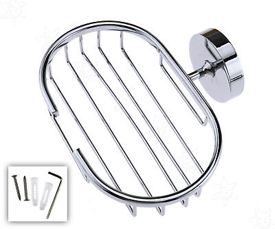 Silver Stainless Steel Wall Mounted Soap Dish Holder Basket Tray Bathroom Shower