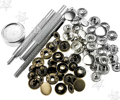 30 X 12Mm Snap Fastener Poppers Press Stud & 4 Fixing Leather Sewing Craft Tool