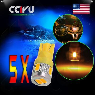 5x Warm White T10 Wedge 6-SMD 5730 LED Tail Light Bulbs 2825 158 192 168 194 161