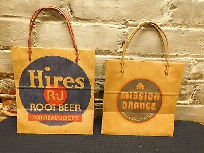 Vintage Hires Root Beer and Mission Orange Paper Bags with Handles~Ships Free