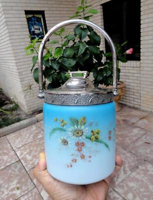 ELECTRIC BLUE SATIN GLASS Victorian Hand Painted Enamel BISCUIT JAR