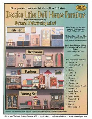 Jean Nordquist's Repro Decalco Litho Doll House Cardstock Furniture in 3 Sizes