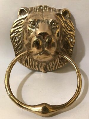 "Vintage? Antique? Large 5"" Lion Head Heavy Solid Brass Door Knocker"