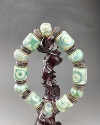 Chinese old hand carved Day bead eye  bead bracelet   / 45
