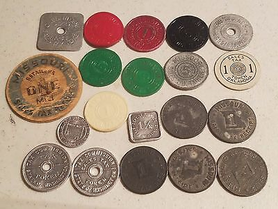 "LOT OF 20  TAX TOKENS, A NICE VARIETY  FROM THE 1930""s"