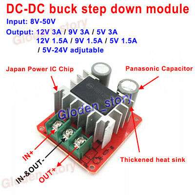 DC-DC 9V 12V 24V 48V to 5V 9V 12V 1.5A 3A  Buck Step Down Converter Power Supply