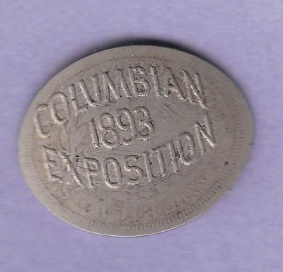 "1893 Columian Expo Elongated Souvenir 1884 Liberty ""V"" Nickel, inv#9547"