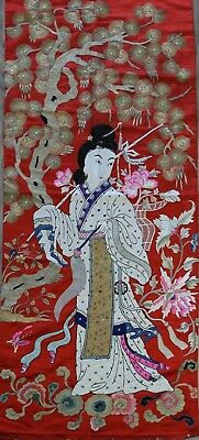 A Very Large Antique Chinese Silk Embroidery Panel Of A Lady Early 20th  65 x 26