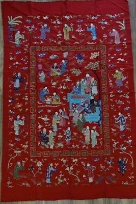 A Very Large Antique Chinese Silk Embroidery Panel w/ Figures Earl 20th  60 x 98