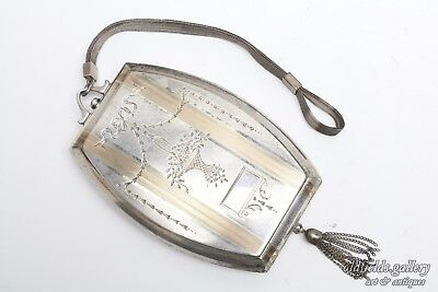 Antique Sterling Silver 14K Rose Gold Coin Card Case Purse Deco Engraved Compact