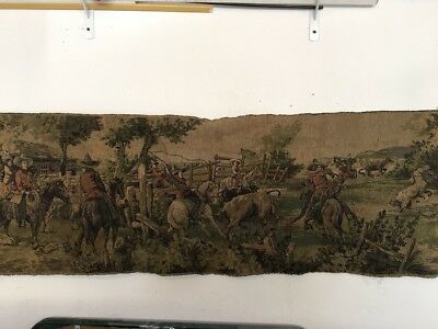 "Antique made in Belgium wall tapestry depicting cowboys, 53"" X 18"""