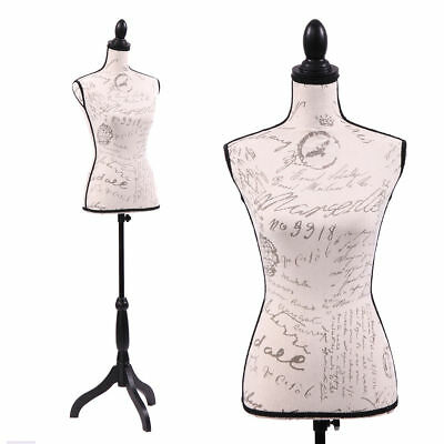 Mannequin Torso Female Dress Form Display W/ Black Tripod Stand Designer Pattern