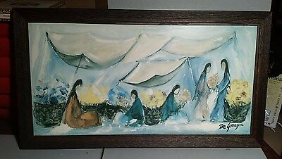 "Wood Framed Mid Century TED DEGRAZIA ""FLOWER MARKET"" Hard Print Mixed Media 1972"