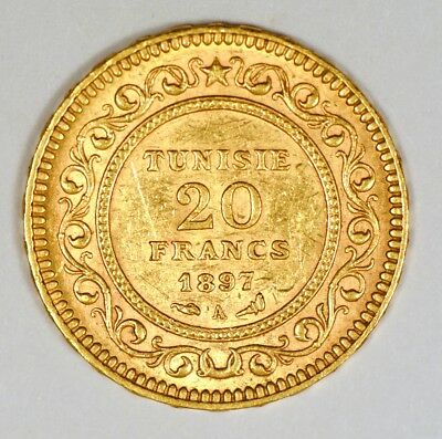 1897 Tunisia 20 Francs gold coin under French rule