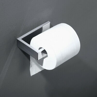 Chrome Toilet Paper Holder Square Stainless Steel Roll Hook Wall Mount Bathroom