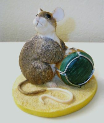 """1993 CHARMING TAILS - Mouse with Cork After the Party Collection 2.5"""" tall"""
