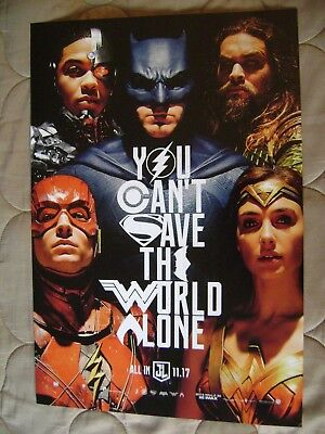 "11.5"" x 17"" You Can't Save the World Alone Justice League movie Poster"