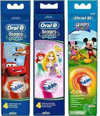 2 or 4 pk Oral B Stages Power Disney Electric Toothbrush Heads Kids Genuine