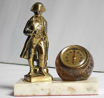 """Vintage Napoleon brass and marble thermometer, 4-1/2"""" high"""