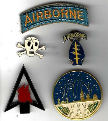VN War group misc insignia, Airborne tab(US) & others are likely VN made. Nice