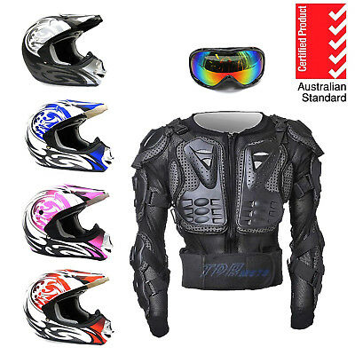 NEW AS1698 Youth Motocross Motorcycle Peewee MX Helmet + Body Armour + Goggles