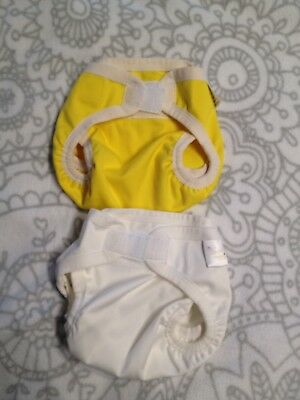 Bubblebubs PUL Nappy Covers MCNs Pilchers 2x Cream And Yellow, Hardly Used