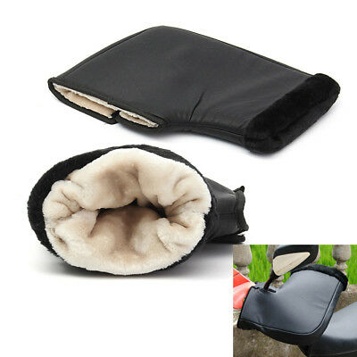 2X Weatherproof Leather Plush Motorcycle Grip Covers Handlebar Mount Gloves Muff